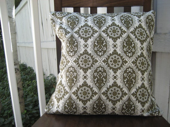 Green Pattern Fabric 18 inch Square Pillow Cover on SALE REDUCED PRICE