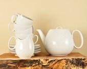 Raymond Loewy Teapot, Teacups, Saucers, Creamer, Rosenthal Continental Tea Set