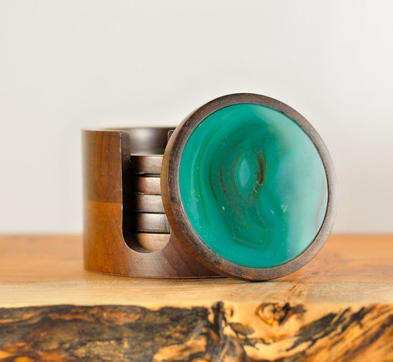 Turquoise Coasters, Agate and Wood, Set of 6 plus Caddy