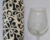 Wine Bottle Wrap Cozy - Insulated - Black and Off White Flowers