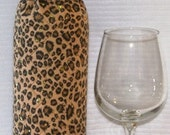 Wine Bottle Wrap Cozy - Insulated - Animal Print Leopard with Bling