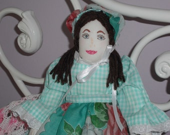 Cloth doll, handmade with gingham dress