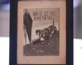 Vintage Dog Print with original wood frame