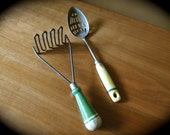 Antique Kitchen Tools // Green and Yellow // Wood and Stainless Steel