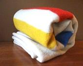 Vintage 100% Wool Stripe Throw Blanket // Red, Yellow, Blue // 1950s // Hudson Bay Style