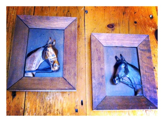 RESERVED Antique Framed Pair of Copper Horses