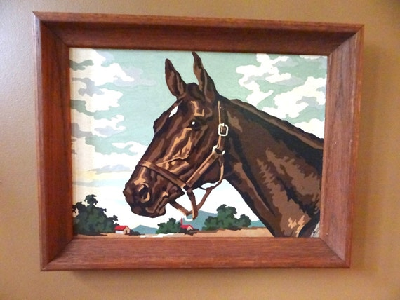 Vintage Framed Paint by Numbers Horse // Wood Frame