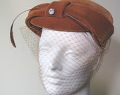 1950's Velvet Cocktail Hat  with Feather and Large Rinestone