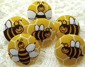 Busy Bee Thumbtacks Fabric Covered Button Buzz