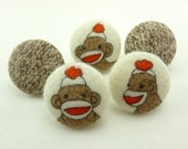 Sock Monkey Thumbtacks Fabric Covered Buttons Pushpin