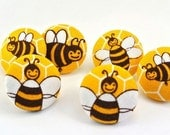 Busy Bee Push Pin / Magnet / Tack / Fabric Button Yellow Hexagon Buzz Thumbtacks / Teacher Appreciation Gift Present / School Room 107