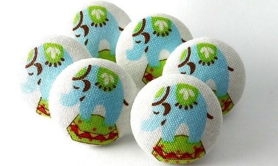 Elephant Push Pin Fabric Covered Buttons Pushpin Thumbtack