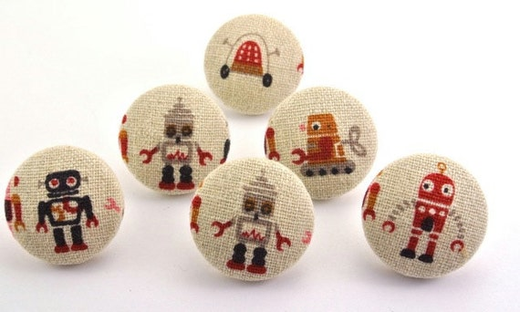 Space Robots Thumbtacks Fabric Covered Buttons Pushpin Lab