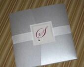 Silver Wedding Invitation, Pocketfold invitation, Custom Sample, Contemporary invitation, Custom Colors