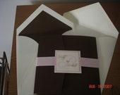 Brown and pink pocketfold invitation, monogram, wedding invite, square, custom colors, custom sample, wedding invite