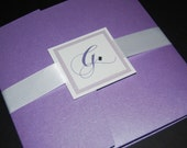 Purple pocketfold invite, purple and lavender, crystal accents, pocketfold, custom colors, custom sample, wedding invitation