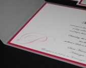 Silver and hot pink pocketfod invite, monogram,  crystal accent, custom sample, custom colors, wedding invitation
