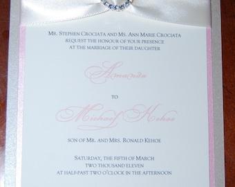 Pink Wedding Invitations - Rhinestone Brooch Invite - Rhinestone Buckle Wedding Invitation -  Wedding Invitation Sample - Formal Invitations