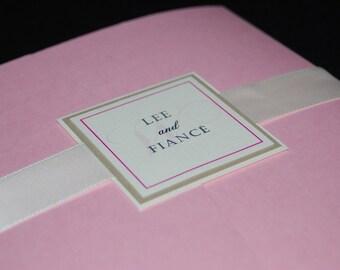 Pink and ivory wedding, pocketfold invitation, monogram, custom colors, custom samples, wedding invite
