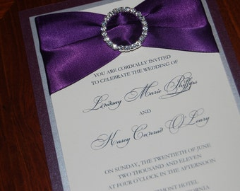 Eggplant wedding invitation - purple invitation - brooch invitation - elegant wedding invite - ribbon invitation - wedding invitation sample