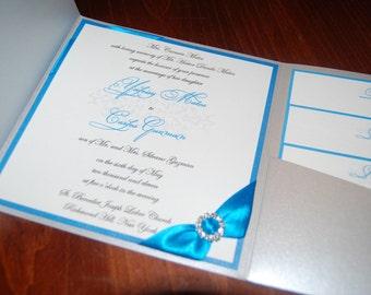 Turquoise and silver pocketfold invitation, rhinestone brooch, custom sample, custom colors, wedding invite