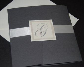 Dark gray pocketfold invitation, crystal accent, wedding invite, custom colors, custom sample, monogram