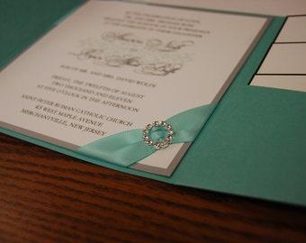 Turquoise wedding invitation, rhinestone invitation, pocketfold invitation, custom colors, custom sample, wedding invitation