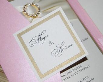 Pink pocket invitation, crystal invitation, gold and blush, pocketfod, custom colors, custom wedding invitation