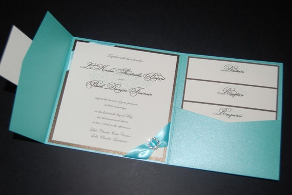 Turquoise And Brown Wedding Invitations: Turquoise And Brown Pocketfold Invitation Sparkle Invite