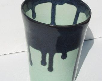 Pencil Holder, Aquamarine Seaweed, Drips Glaze, Emerald Glass, Ceramic holder, Green Glass, Aqua Green, 48
