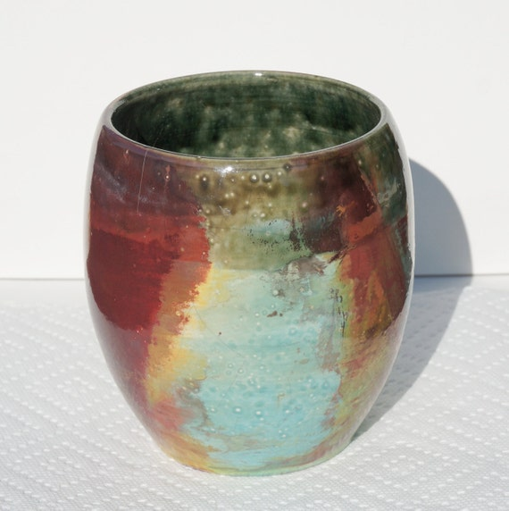 Copper blue flash raku vase 78