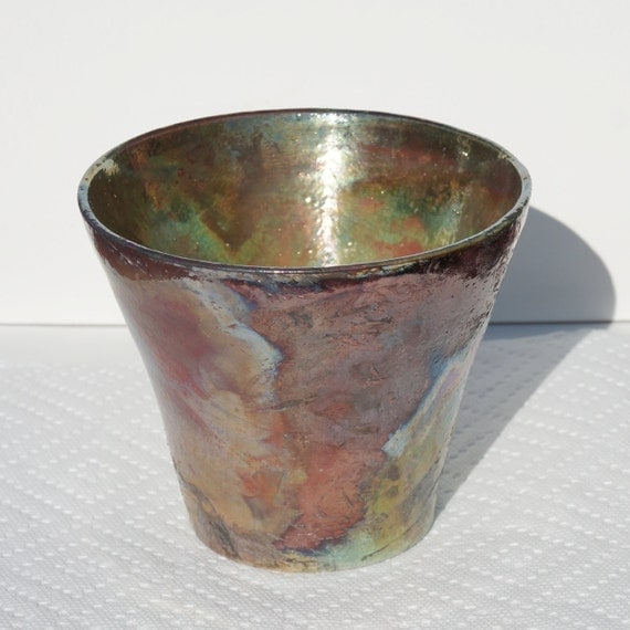Green copper flame raku vase 75