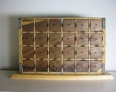 Buttonsorter -- Rustic Pepsi Crate W/ 24 Walnut Drawers