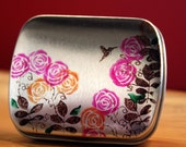 Hummingbird Hinged Floral Tin