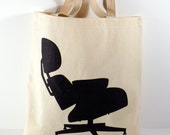 Canvas Tote Bag, Mid Century Modern Eames Lounge Chair
