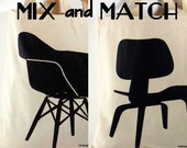 SALE: Mix and Match Canvas Tote Bags, Mid Century Modern Chairs