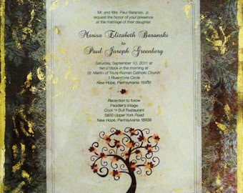 Wedding Invitation Plate 10inSquare Custom Decoupage