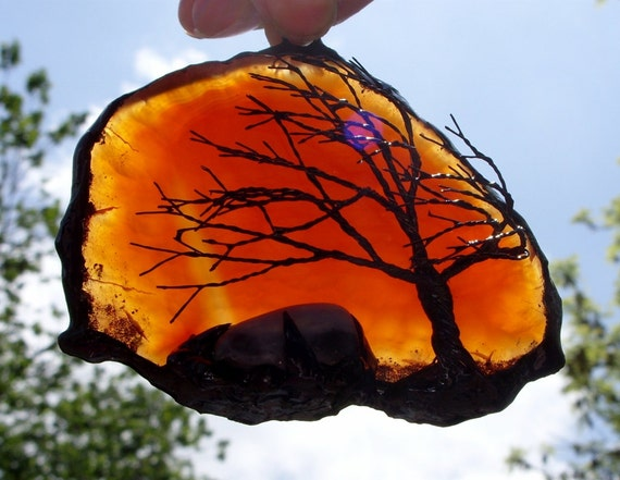 Black Wire Tree Of Life Metal Wall Art Sculpture On A Red Orange And Yellow Agate Stone Crystal Suncatcher With A Polished Mineral