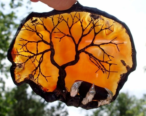 Black Wire Tree Of Life Metal Wall Art Sculpture On An Orange Agate Stone Crystal Suncatcher With A Polished Gemstone