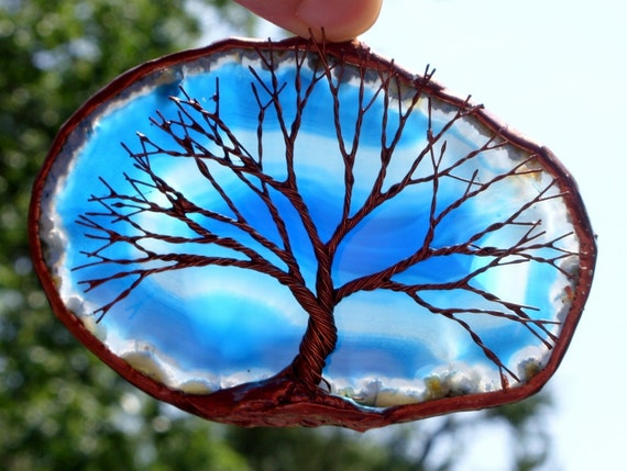 Copper Wire Tree Of Life Metal Wall Art Sculpture On A Blue And White Agate Stone Crystal Suncatcher