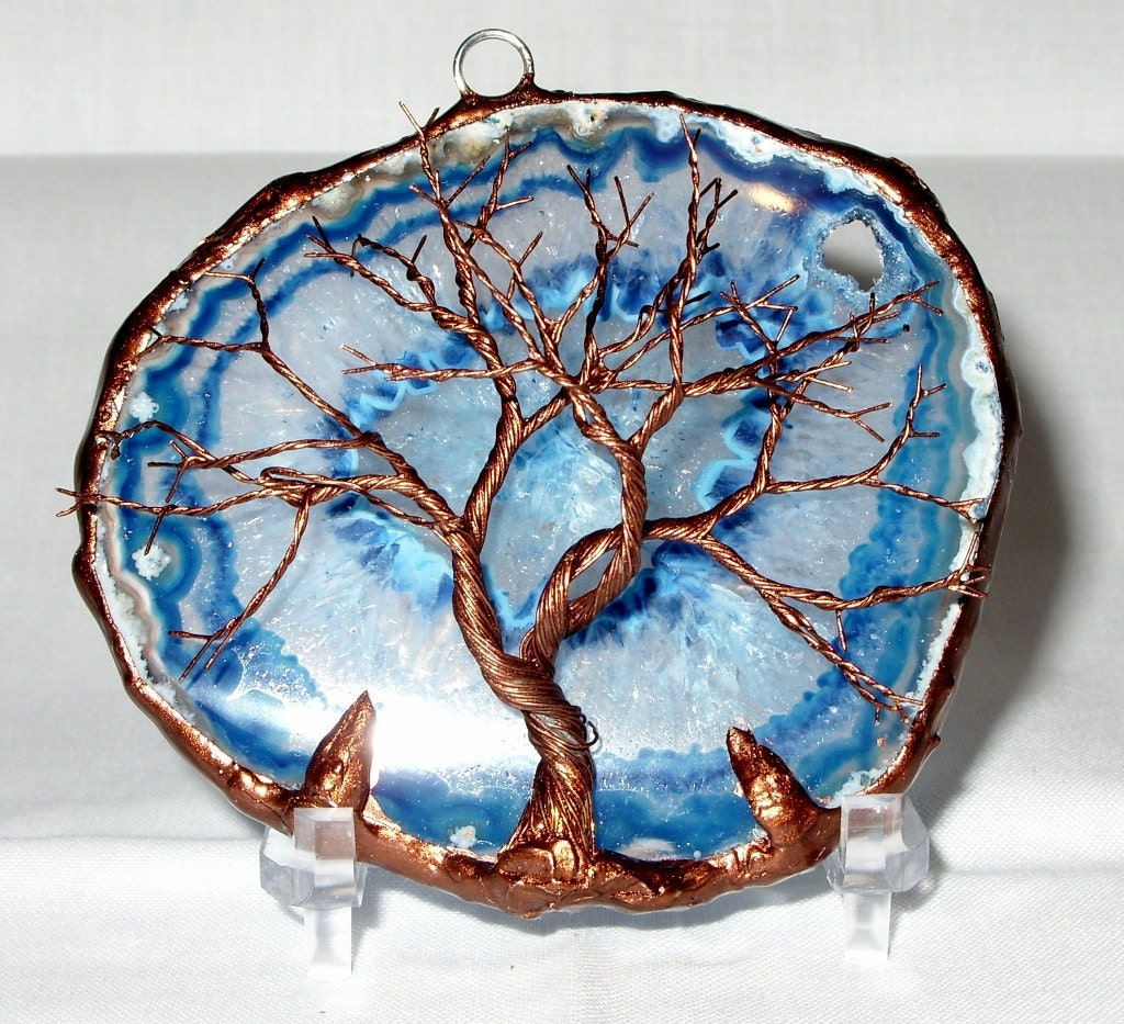 copper wire tree of life metal wall art sculpture on a blue. Black Bedroom Furniture Sets. Home Design Ideas