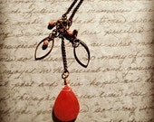 Long Cherry Quartz Boho Chic Cluster Necklace