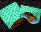 Set of 2 Reuseable Sandwich/Snack Bags in Peacock Green