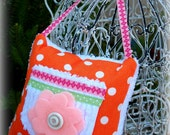 Toothfairy Pillow in Orange/White Polka Dots and White Chenille