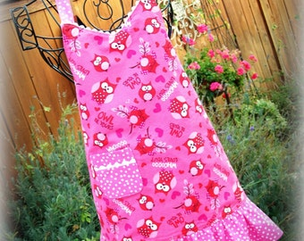 Girls Valentine Pink Owl Apron/ Girl's Gift/ Ready to Ship/Sale