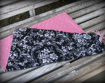 Mini Blanket in Black and White Damask/ SALE/ Pink Minky/ Baby Girl Security Blankie/ Lovey / Mini Blankie