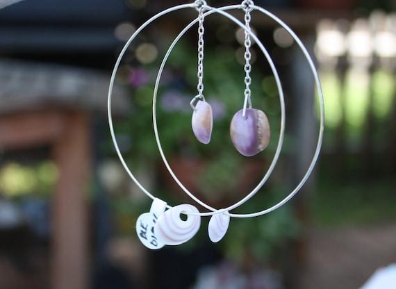 Large Silver Hoop Maui Puka Shell Earrings