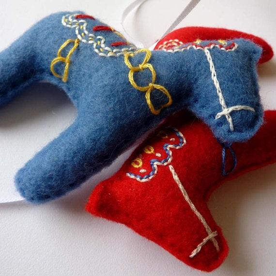 Embroidered Dala Horse Ornament - Set of Three