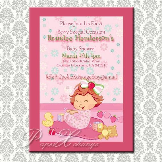 items similar to strawberry shortcake baby shower invitation diy