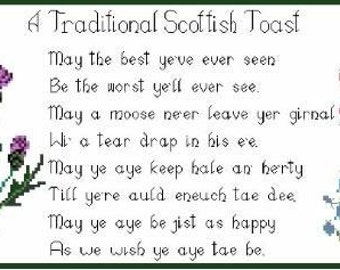 Traditional Scottish Toast Cross Stitch Print Poster